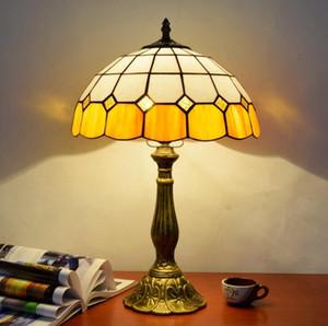 Tabela Dragonfly Tiffany Luz tabela fixação Mediterrâneo vitral Lâmpada para sala de estar Quarto Desk Lamp decorativa