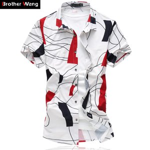 Brother Wang Sommer Herren Freizeithemd Fashion Geometric Printing Slim Stretch Shirt Marke Business Leisure Large Size Clothing