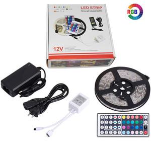RGB LED Şerit Işık Bant Esnek Diyot Şerit SMD 5050 RGB 24key 44key Güç Uzaktan Su Geçirmez Aydınlatma 5 M
