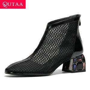 QUTAA 2020 bout rond Zipper Bottes cheville cristal carrée talon haut Chaussures Femme Patchwork en cuir verni Mesh Femmes Pompes Size34-42