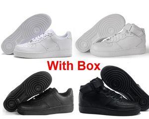 Avec Box One 1 Dunk MID 07 Hommes Femmes Flyline Running Chaussures Sport Skateboarding Haute Basse 1 Tout Blanc Tout Noir Baskets Sneaker