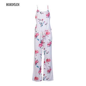 Moda Kadınlar Yaz Çiçek Baskı Spagetti Askı Romper Tulum Uzun Geniş Bacak Pantolon