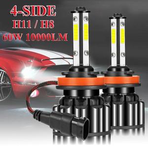 2Pcs 4 Sides H11 H8 Car LED Headlight High or Low Beam Bulbs 60W 10000LM 6000K White