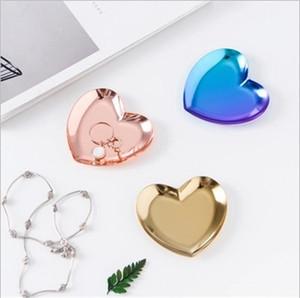 90X8.5CM Главная Обстановка Jewelry блюдо в форме сердца украшения Металлический лоток для хранения Офис Красочные Золотой Instagram Декор