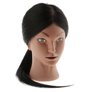Formación Práctica Profesional de peluquería cosmetología silicona maniquí muñeca principal con el montaje del agujero 80% del cabello humano real
