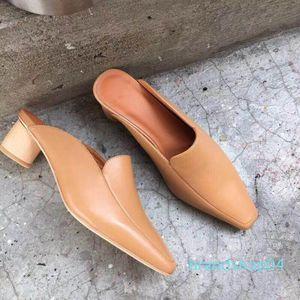 Fairy2019 İspanya Gerçek Deri Kare Kaba ile Kadın Serin Cilt Terlik Muller Kadın ayakkabı Yeni