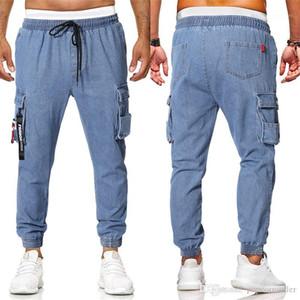 Diseño Casual Jeans Moda Casual Hombres Ropa Para hombre Pantalones vaqueros con paneles Diseñador Europeo y americano Para hombre Bolsillo suelto Decoración con cordón