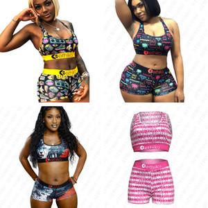 Las mujeres nadan cortocircuitos de la marca del bikini traje de baño de la playa del verano de impresión de letras trajes de baño traje de dos piezas de baño Ropa C6402