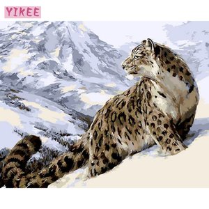 nordic wall painting,decorative pictures,oil drawing by numbers,leopard painting with frame