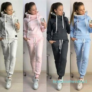 womens designer hoodie+Long Pant 2 Piece Sets Solid Color Outfit velvet thickened sweater suit hooded sports sweater hoodie two-piece suit