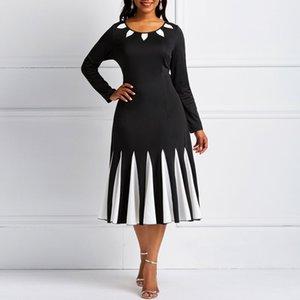 Vestido de fiesta Kinikiss negro primavera vintage color bloque fiesta de invierno patckwork