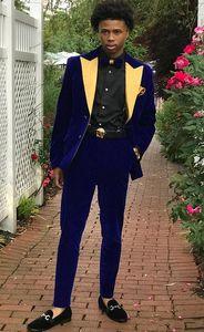 Velvet Groom Smokings Hommes Bleus Mariage Tuxedos Yellow Peak Lapel Hommes populaires Dîner d'affaires / veste Darty Blazer Suit (veste + pantalon + cravate)