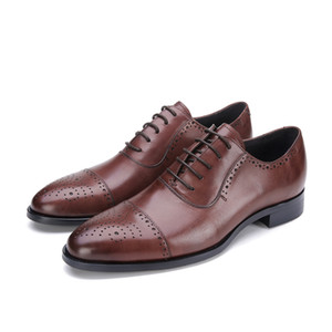 Men's Leather Shoes Business Formal Wear Leather Shoes Men's Lace-up Pointed Toe Genuine Leather Shoes