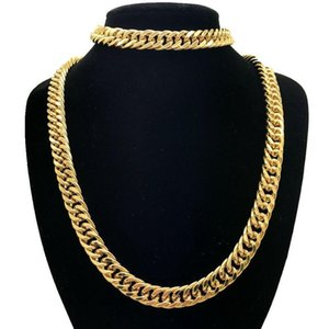 10MM Wide Yellow Gold Filled Chunky Solid Curb Link Chain Men Necklace Bracelet Jewelry Set