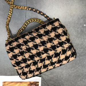 Sac bandoulière bourse de portefeuille Fashion Style Hiver Couleur Patchwork Tissu de haute qualité Houndstooth Préparation Tweed Femmes chaîne Sac à rabat