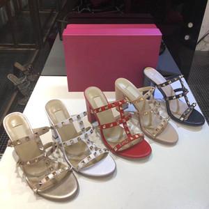 European Classic Luxury Art Damenschuhe Sandalen Fashion Hausschuhe Sexy Sandale Buchstabenmodell Absatz Leder Stitching und Herstellung Gürtelschnallen
