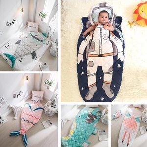 아기 신생아 유아 겨울 두꺼운 단단히 싸는 담요 랩 침구 S200113를 들어 가방 어린이 상어 우주 비행사 인어 봉투 슬리핑