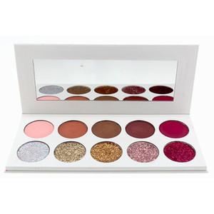 Toptan Hiçbir logosu Makyaj 10 Renkler Göz Farı Paleti Mat ve Glitter Eyeshadow Palette ile Ayna 10 Renk Make Up Göz Farı Paletleri