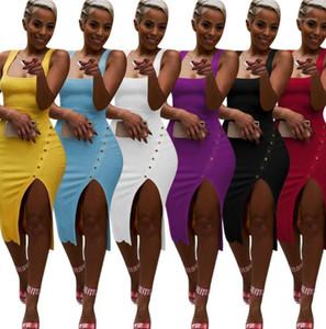 Şeker Renk Kadınlar Elbise Yaz Düzensiz Tasarımcı Spagetti Askı Bölünmüş Yukarı Elbise Kılıf BODYCON Elbise