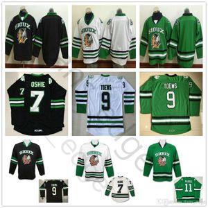 Mens barato Vintage Dakota del Norte Fighting Sioux Colegio de hockey jerseys 9 Jonathan Toews 11 Zach Parise 7 TJ OSHIE Universidad cosido camisa