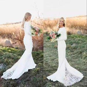 New White Beach Ivoire Bohème de mariée sirène Robes dentelle Appliqued manches longues balayage train longueur de mariée Robes de mariée