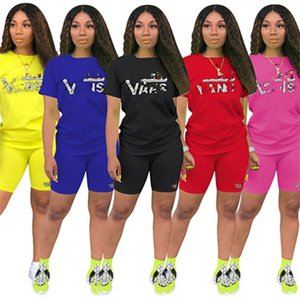 Plus size 3X Summer Women jogger suit sports two piece set short sleeve letter Tshirt shorts casual tracksuit designer black sweatsuits 3220
