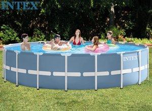 INTEX 305 * 76см Piscina Круглая рамка бассейн Набор труб стойку пруд Большой семейный плавательный бассейн Большой круглый металлический бассейн Рамка