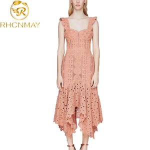 2020 Women Orange Irregula Lace Dress Runway Summer Strapless Bodycon Long Dress Sexy Hollow Out Crochet Beach