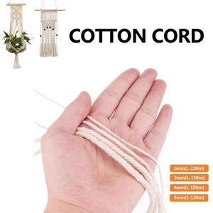 1/2/3/4/5mm Cotton Twisted Cord 100-220M Braided Soft Beige Macrame String DIY Cord Craft Hand Tying Thread Macrame Rope