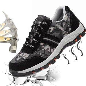 İş Güvenliği Botları Erkek Ayakkabıları Kamuflaj İş Ayakkabıları Anti-smashing Safety Slip-on Erkek Botları Yeni İnşaat Koruyucu