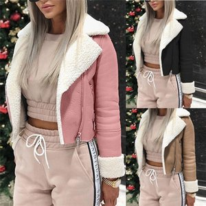 PU Fleece Womens Designer Chaquetas moda mujer solapa cuello polar abrigo Casual mujeres suelta prendas de vestir exteriores otoño