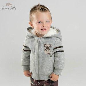DBJ9162 Dave Bella Otoño Invierno Bebé Bebé Chaqueta Preciosa Chaqueta Niños Outerwear Ropa de abrigo con capucha Kids