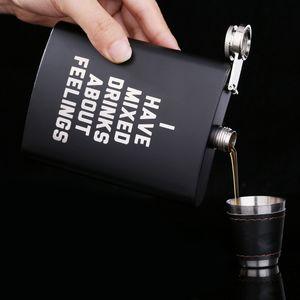 8oz из нержавеющей стали фляжка Английский Letter Black персонализировать Колба Открытый Портативный Flagon Виски Stoup вина Пот Алкоголь Бутылка VT0819