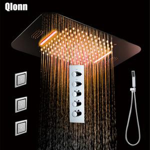 Bad Poliert Dusche Platz Hahn Regen Wasserfall Duschkopf Thermostat-Hahn-Mischer Embedded Deckenmontage Dusche
