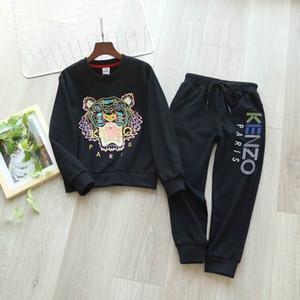 Детские дизайнерские комплекты одежды роскошные Тигровая голова вышивка толстовки толстовка Tracktpants активные мальчики спортивные костюмы подростки двухсекционные наборы
