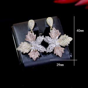 Fashion earrings elegant flowers ladies earrings for women cubic zircon wedding Dubai bridal earrings Wedding Accessories ZY