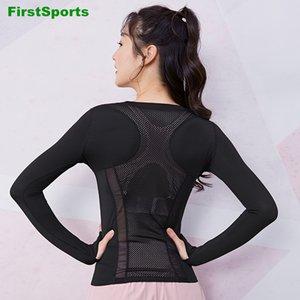 Sexy Mesh Sports Yoga Shirts Womens Long Sleeve Slim Gym Shirts Tops Quick Dry Running Fitness Workout T-shirts Sportswear