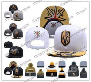 Vegas Golden Knights Hockey sobre hielo Gorros de punto Bordado Sombrero ajustable Gorros de snapback bordados Negro Gris Blanco Sombreros cosidos