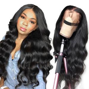 Brasileira 4 * 4 Lace Wig Encerramento Direto Humano Perucas Por Negras 150% Densidade Lace Wig com bebê cabelo indiano do cabelo do Peru