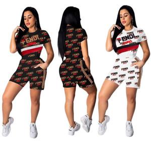 Trajes de verano para mujer de dos piezas para mujer marca para mujer ropa para correr traje deportivo camiseta + shorts traje casual klw1080