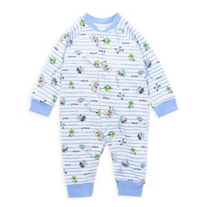 Honeyzone tulum İçin Yeni Doğum 2020 Mavi Karikatür Baskı Erkek Bebek Onesie 0-9M Infantil Bebek Kostüm Jumpeuit Pijama