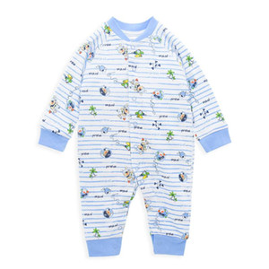 Honeyzone Rompers для New Born 2020 Синий мультфильм печати Baby Boy Onesie 0-9M Infantil малышей Костюм Jumpeuit Пижама
