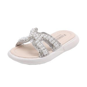 New Fashion Summer Girls Princess Pearls Outdoor Slippers Casual Crystal Soft Children's Rhinestone Flats For Kids Bling Sandals
