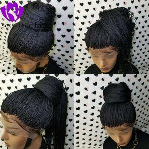 Linea sottile naturale Twist Trecce Braid Parrucca parrucca anteriore del merletto di Black Women completa handtied micro intrecciato parrucche con capelli del bambino