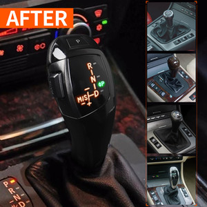 LED Shift Knob Carbon Fiber Shift Knob with LED Screen LHD Automatic LED Gear Shift Knob setting for BMW E46 E60