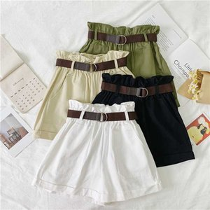 2020 Spring Summer Arrival Korean Style Shorts High Waist Loose Wide Leg Shorts Elastic Waist with Belt Free Shipping