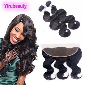 Peruvian Virgin Hair 2 Bundles With 13X4 Lace Frontal Ear To Ear Frontal Closure With Weaves 3 Pieces lot Raw Wefts With Closure