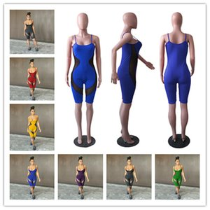 Women Summer Sleeveless Suspender Pants Rompers Sexy Mesh Design Jumpsuits Ladies Low Neck One-Piece short Clothes Casual Bodysuits D52213LY