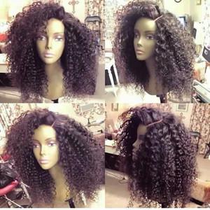 Полный парики шнурка человеческих волос Малайзии девственные волосы афро кудрявый вьющиеся Бесклеевые кружева перед парики высокой плотности необработанные волосы бесплатные покупки