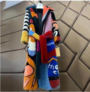 Ftangaiur 2019 импортная бархатная норковая шуба с отложным воротником лоскутное цветное норковое пальто женская X-Long потеря настоящих норковых шуб
